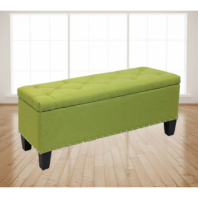 "42"" Stylish Rectangular Storage Ottoman Bench Tufted Footrest Lift Top Green"