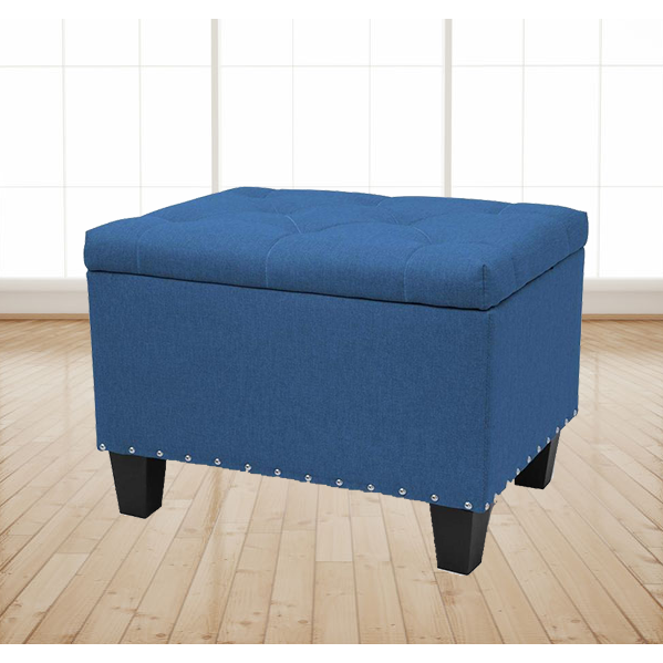 "24"" Stylish Rectangular Storage Ottoman Bench Tufted Footrest Lift Top Blue"