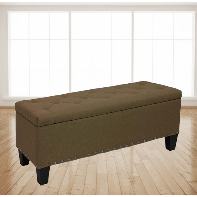 "42"" Stylish Rectangular Storage Ottoman Bench Tufted Footrest Lift Top Coffee"