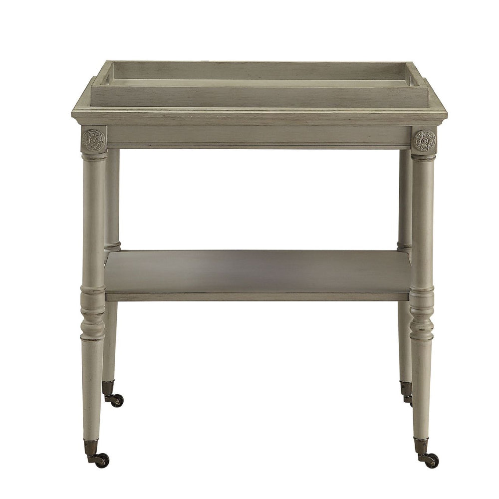 Removable Tray Table With 1 Open Compartment & Metal Caster Wheels Antique Slate
