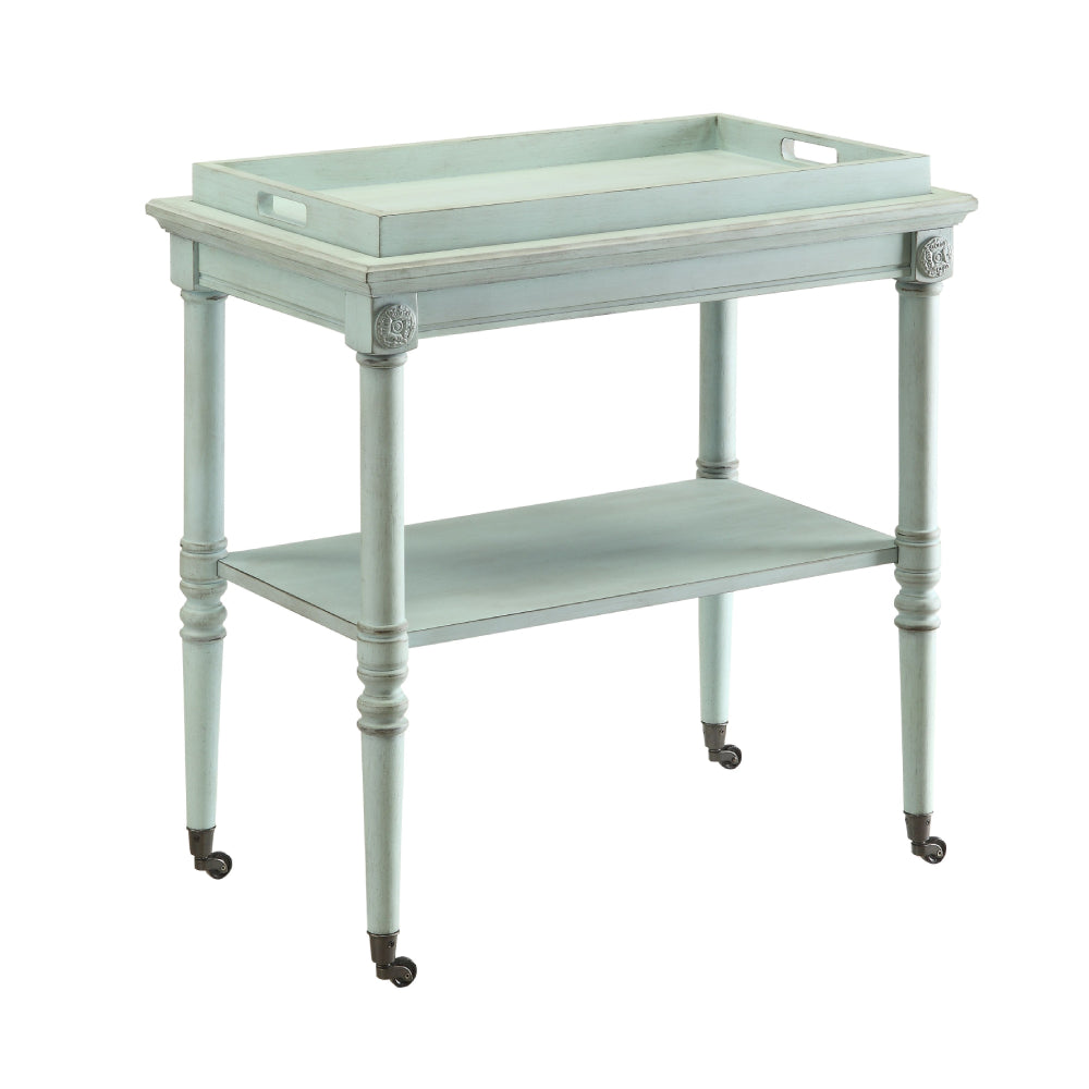 Frisco Removable Tray Table With 1 Open Compartment & Metal Caster Wheels Antique Green