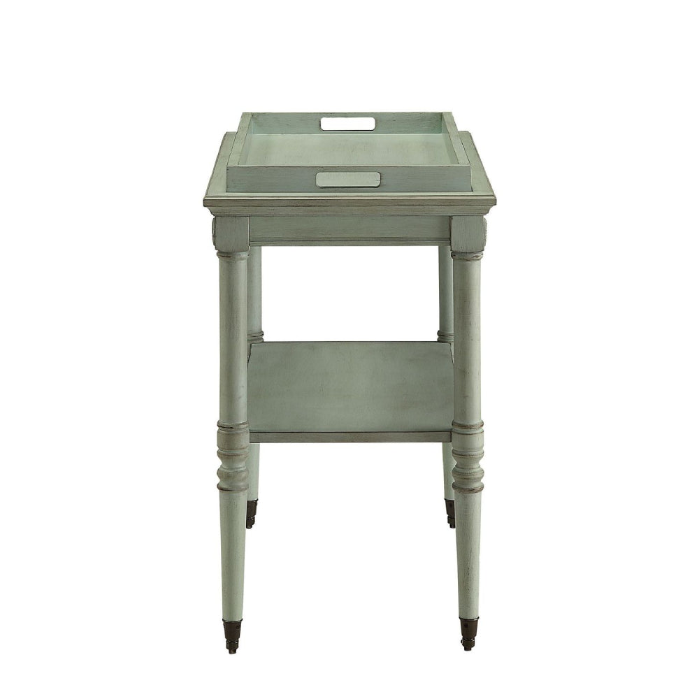 Removable Tray Table With 1 Open Compartment & Metal Caster Wheels Antique Green