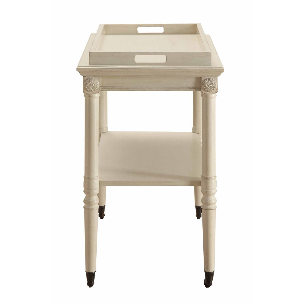 Removable Tray Table With 1 Open Compartment & Metal Caster Wheels Antique White