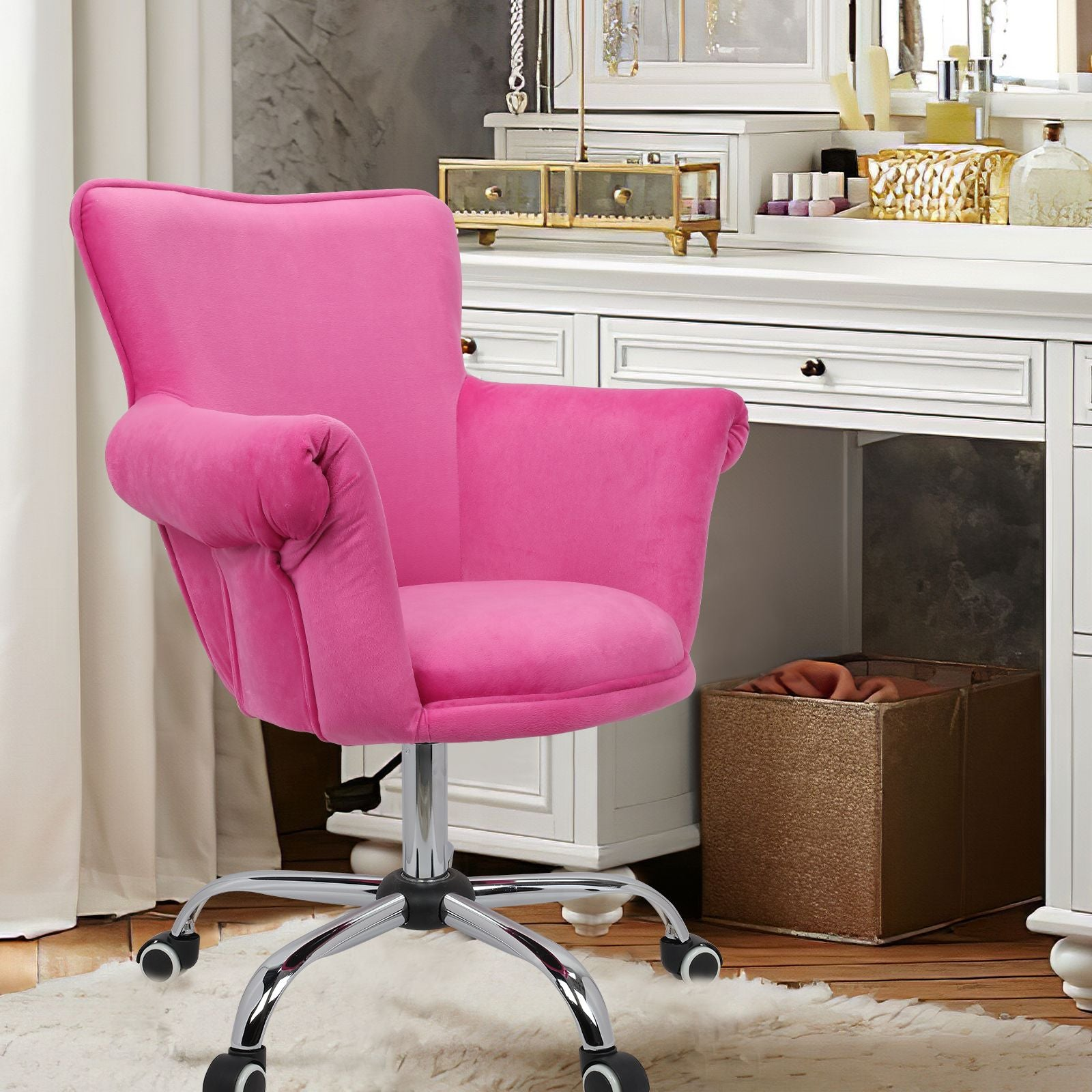 Pale Violet Red Modern Mid Back Microfiber Home Office Chair Computer Desk Chair Swivel Beauty Nail Salon Spa Vanity Seat