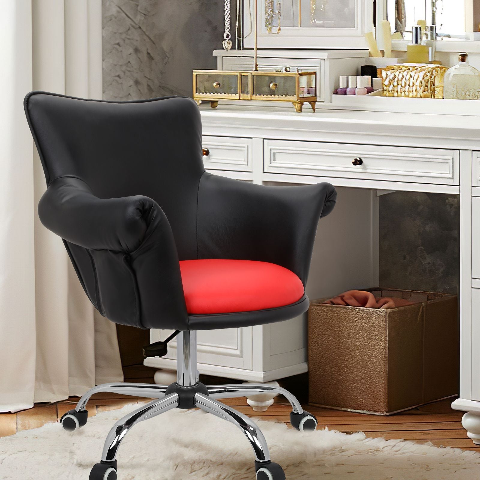 Tomato Modern Mid Back Microfiber Home Office Chair Computer Desk Chair Swivel Beauty Nail Salon Spa Vanity Seat