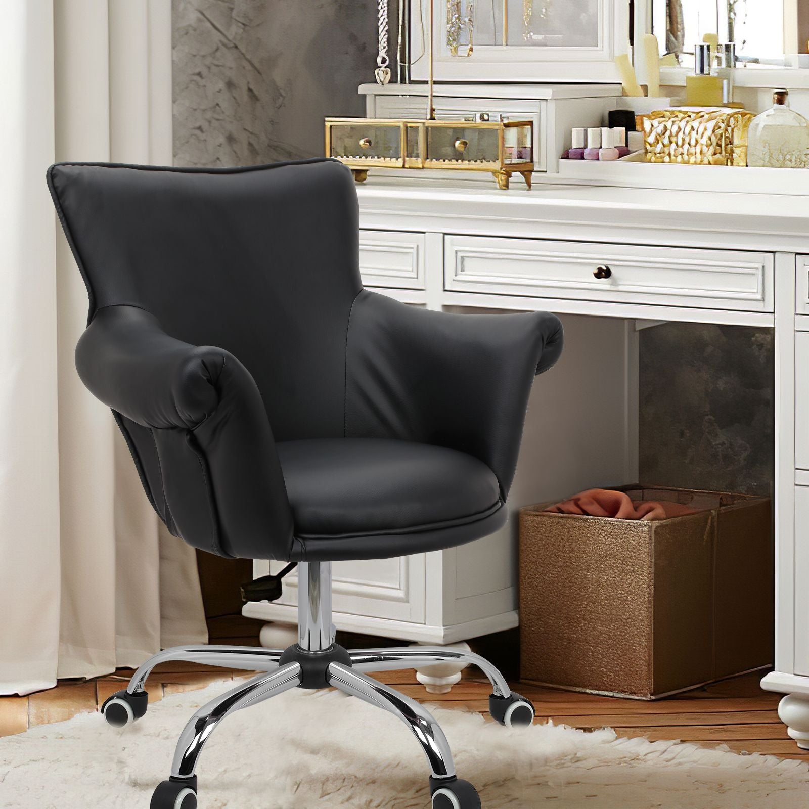 Dark Slate Gray Modern Mid Back Microfiber Home Office Chair Computer Desk Chair Swivel Beauty Nail Salon Spa Vanity Seat