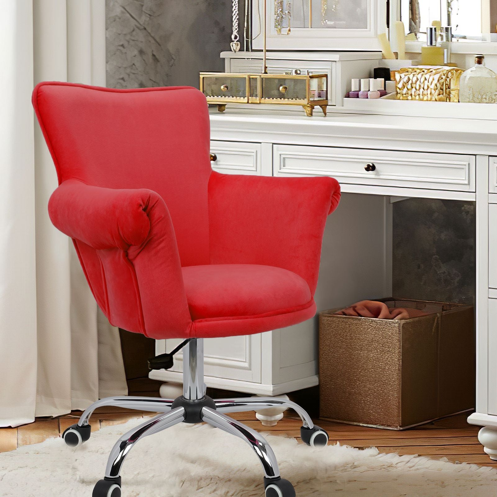 Firebrick Modern Mid Back Microfiber Home Office Chair Computer Desk Chair Swivel Beauty Nail Salon Spa Vanity Seat