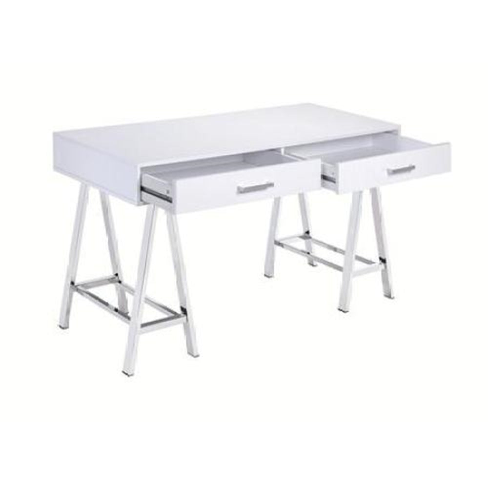 Rectangular Writing Desk w/Metal Sawhorse Base White High Gloss & Chrome