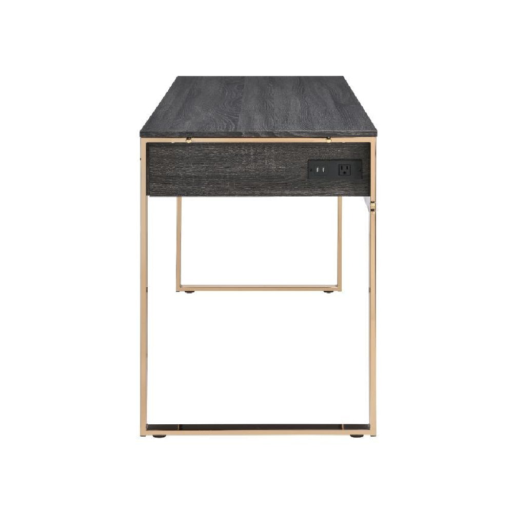 Built-in USB Port and Plug Writing Desk With 3-Drawer Champagne Gold & Black Finish BH92715