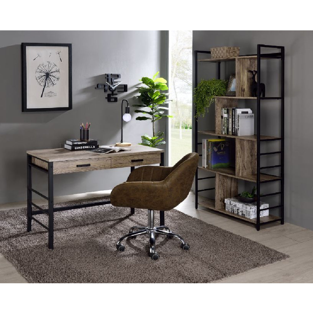 Built-in USB Port Writing Desk Ladder Metal Base with Crossbar Light Weathered Oak & Black Finish BH92720