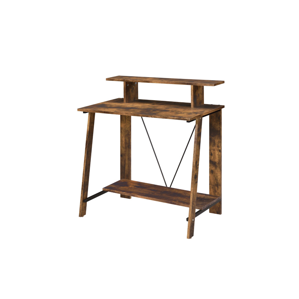 Metal V-Shaped Backing Writing Desk With Top and Bottom Shelves Weathered Oak & Black