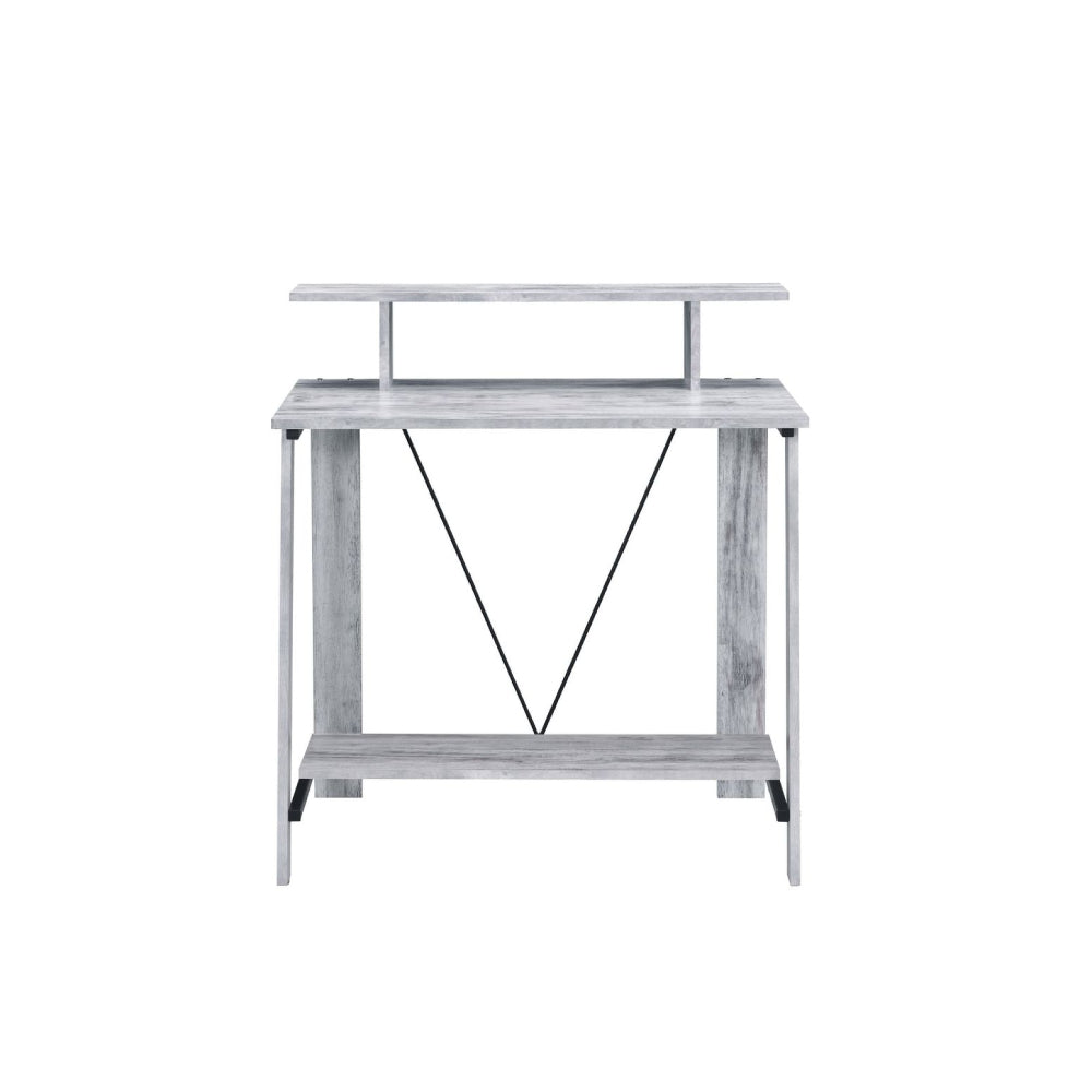 Metal V-Shaped Backing Writing Desk With Top and Bottom Shelves Antique White & Black