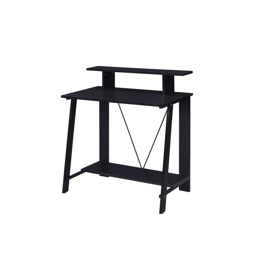 Metal V-Shaped Backing Writing Desk With Top and Bottom Shelves Black