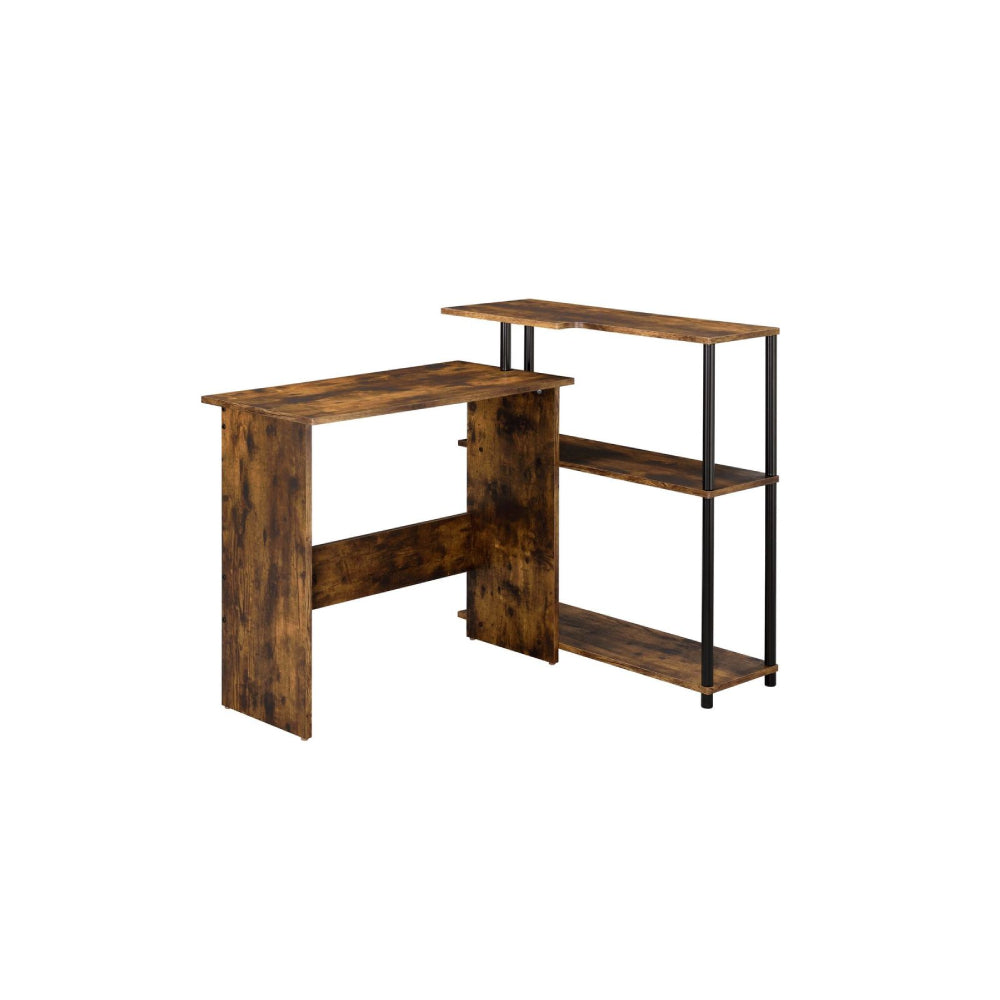 L-Shape Writing Desk w/3-Tier Side Shelf Weathered Oak & Black