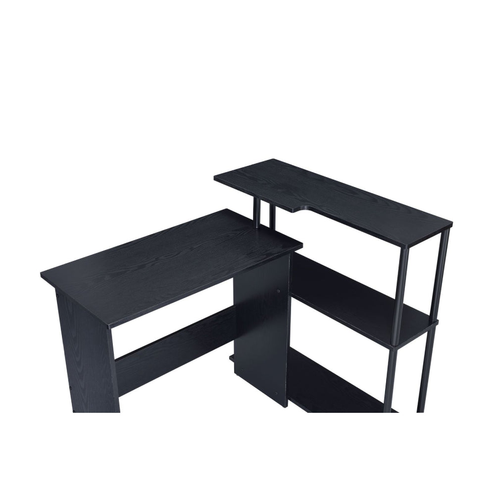 L-Shape Writing Desk w/3-Tier Side Shelf Black