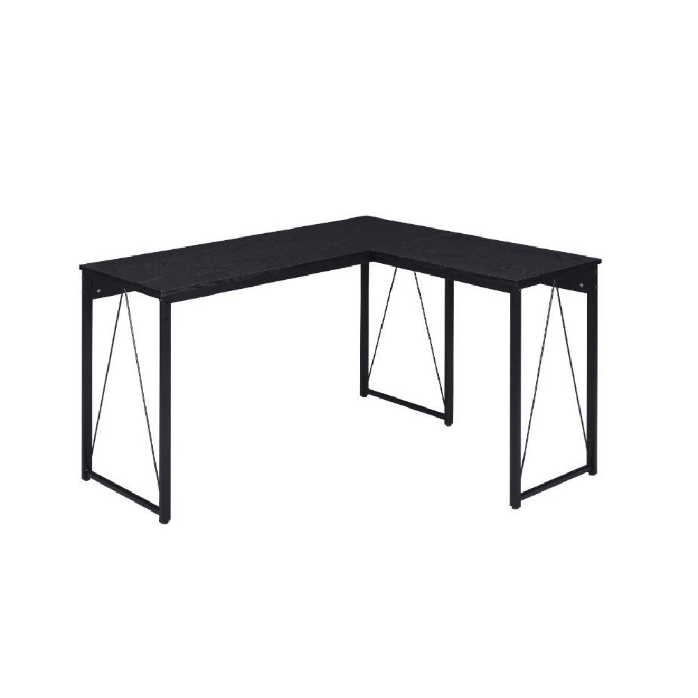 L-Shaped Writing Desk With Metal Base Black