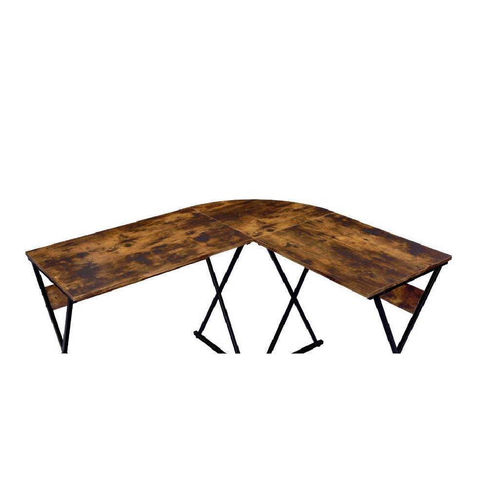 L-Shaped Writing Desk With Metal Base Weathered Oak & Black