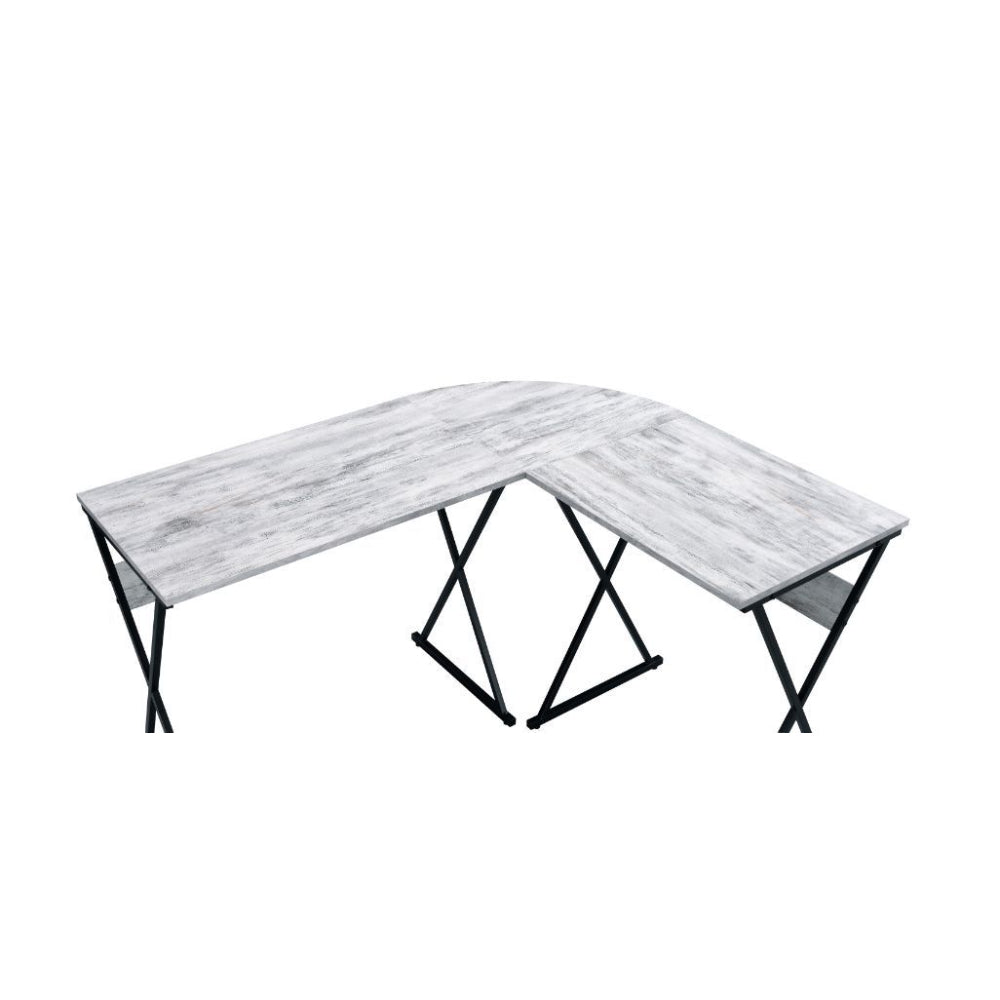 L-Shaped Writing Desk With Metal Base Antique White & Black