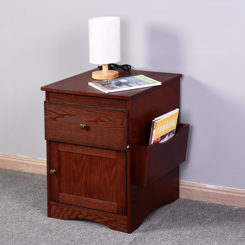 Bedroom Furniture Bedside Storage Cabinet Multifunctional Drawer Cabinet Espresso