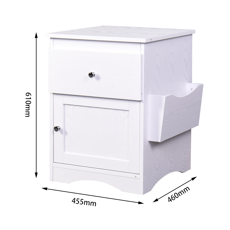 Bedroom Furniture Bedside Storage Cabinet Multifunctional Drawer Cabinet White - Size