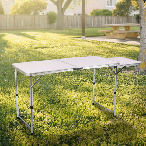 Camping Folding Serving Table Potable All-in- One 2-Tier Practical Kitchen Table w/Side Prep Panel- Aluminum Frame for Outdoor Camping, Food Preparation, BBQ Party, Picnic Table