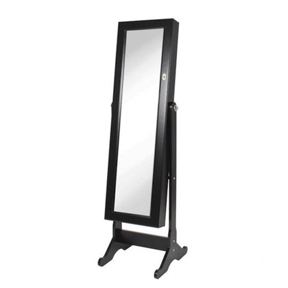 White Smoke Modern Large Standing Floor Mirror with Jewelry Storage Cabinet 3 Color