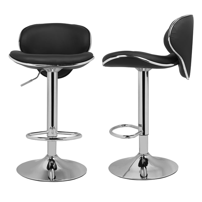 Gray Modern Curved Seat Pub Bar Stools Chrome Adjustable Counter Stools Kitchen Stools w/backs Black 2pcs