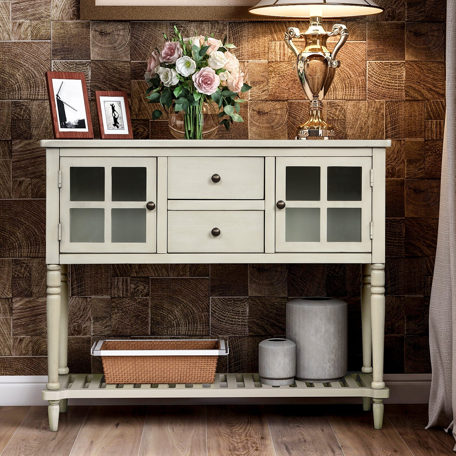 Light Gray Sideboard Console Table with Bottom Shelf, Farmhouse Wood/Glass Buffet Storage Cabinet Living Room BH193444