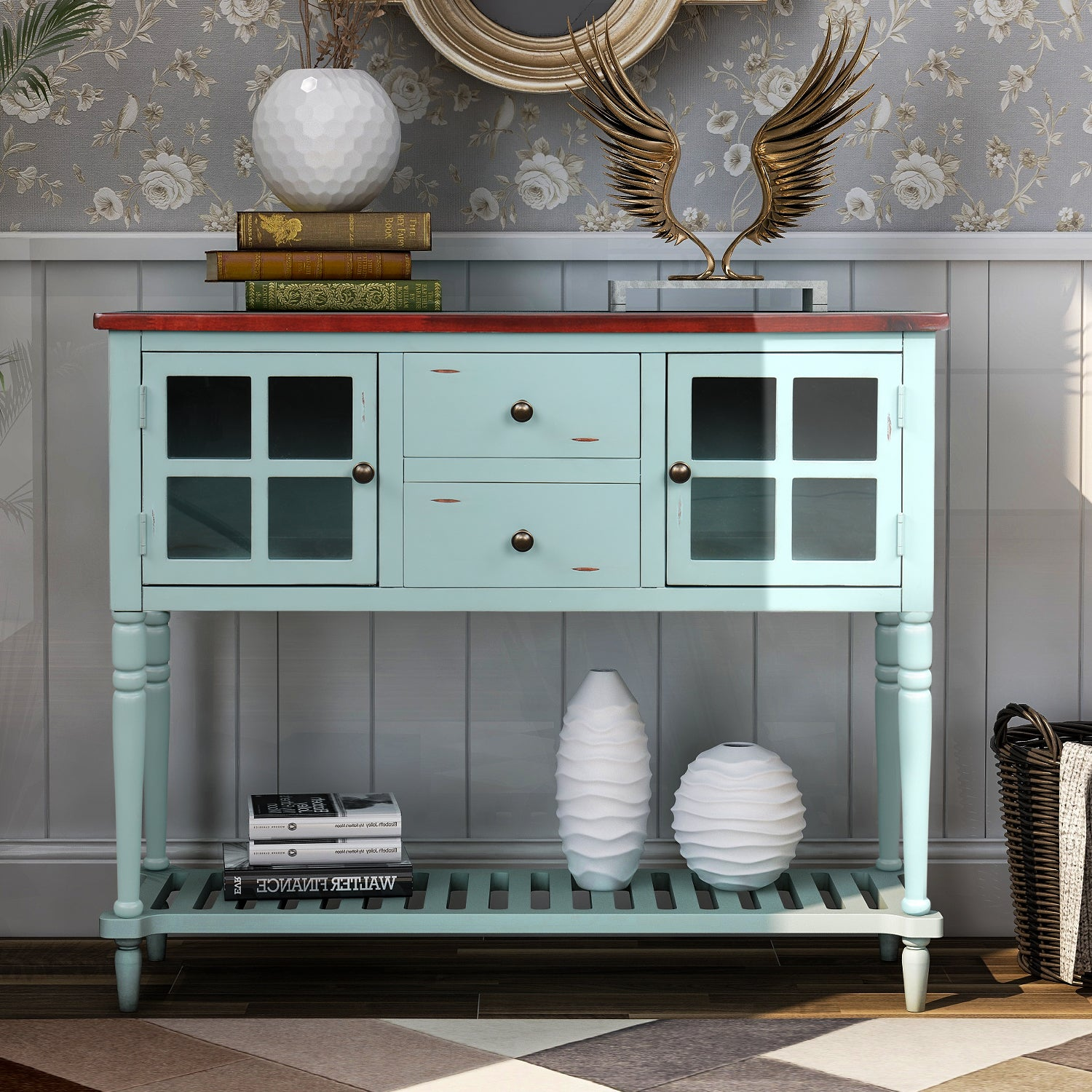 Gray Sideboard Console Table with Bottom Shelf, Farmhouse Wood/Glass Buffet Storage Cabinet Living Room BH193444