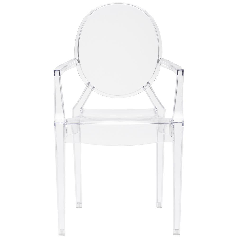 Modern Ghost Chair Dining Side Chair with Arms in Transparent Crystal Clear