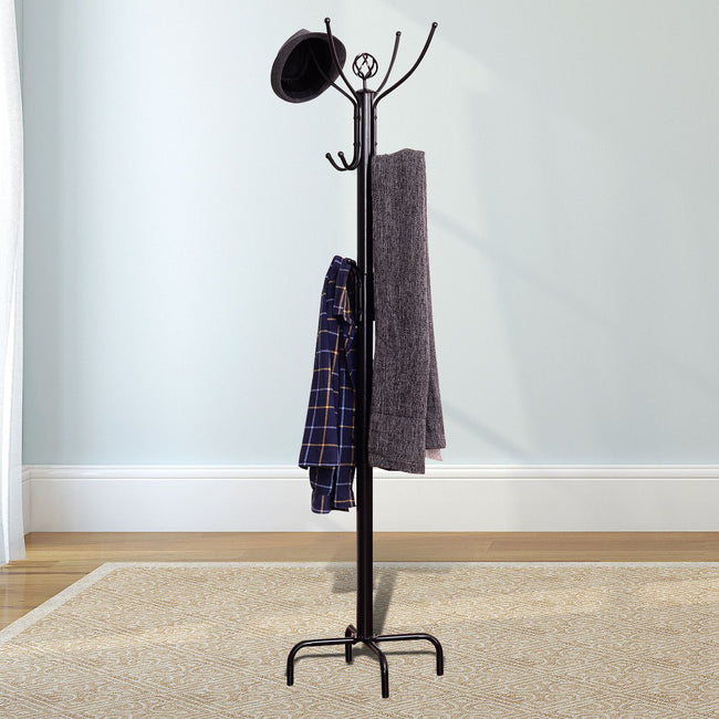 "73"" Metal Standing Coat Rack Coat Stand Hat Jacket Tree Holder Coat Hanger Black 12 Hooks"
