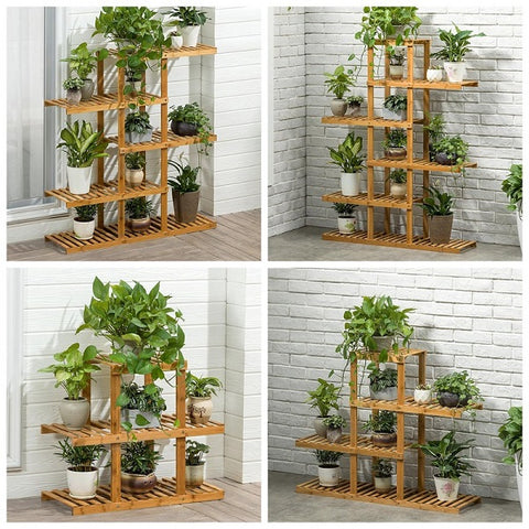 Bamboo Tall Plant Stand Pot Holder Small Space Table