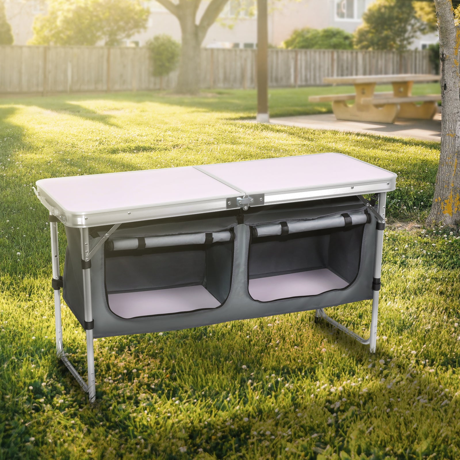 Dark Slate Gray Folding Camping Picnic Table w/Extended Panel, Compact Aluminum Lightweight Picnic Table