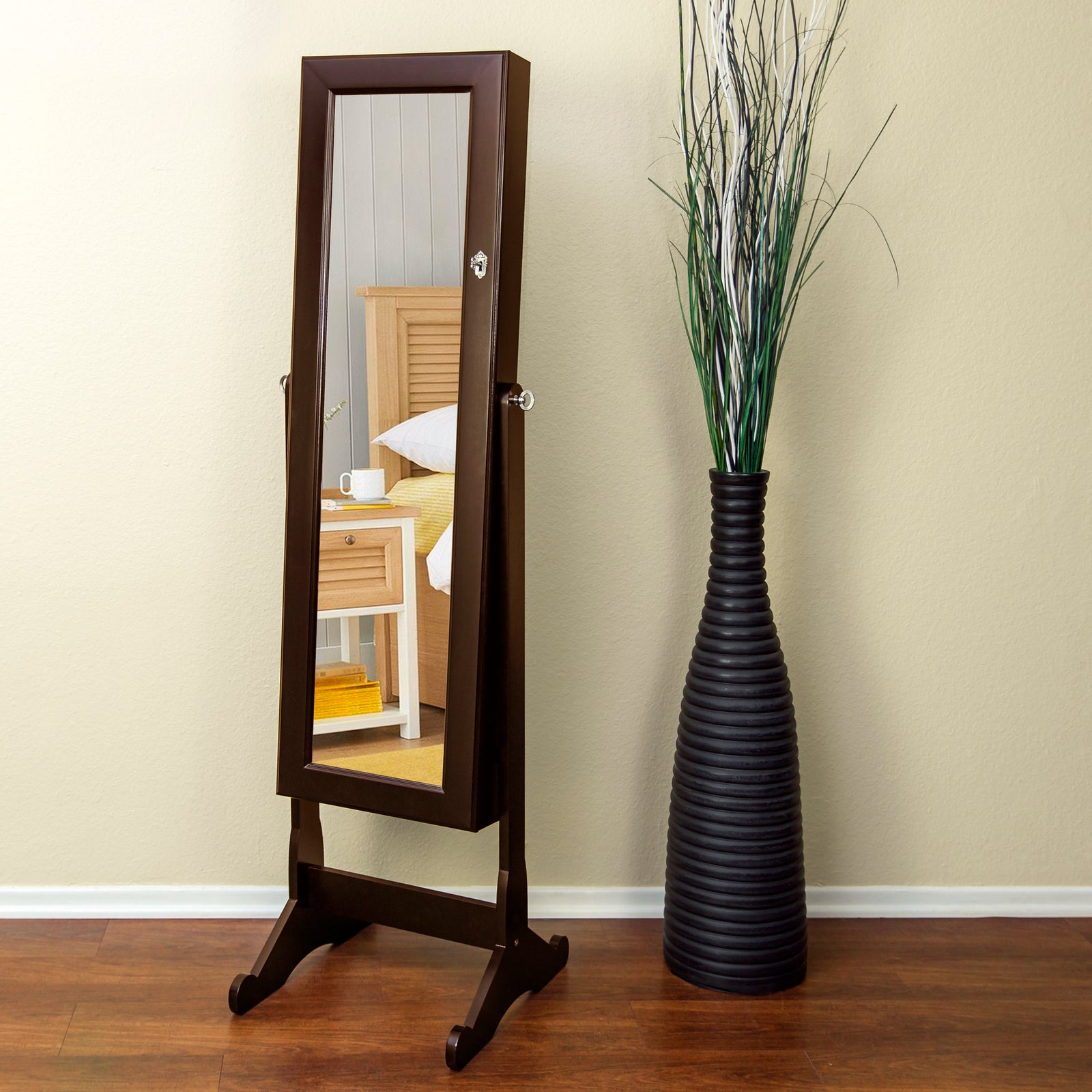 Rosy Brown Modern Large Standing Floor Mirror with Jewelry Storage Cabinet 3 Color