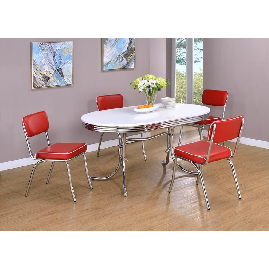 Coaster 2065-2066 | 5pc Retro Oval Glossy White Dining Table And Open Back Cushion Dining Side Chairs