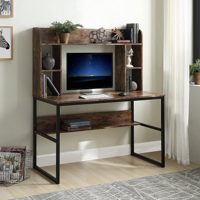 Computer Desk with Hutch, 47 inch Rustic Office Desk and Modern Writing Desk with Storage Shelves , Vintage and Black Legs