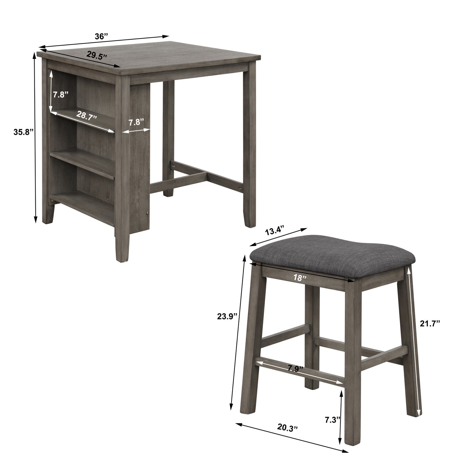 3 Counts - Square Dining Table with Padded Stools, Table Set with Storage Shelf Dark Gray - Size