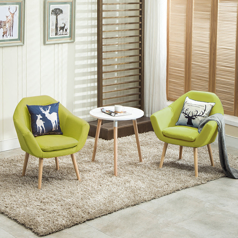 Elegant Upholstered Fabric Club Chair Accent Chair Set Of 2