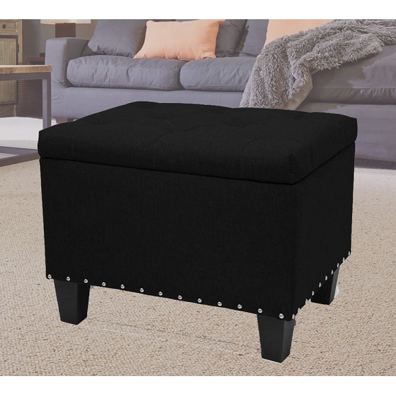 "Stylish 24"" Rectangular Storage Ottoman Bench Tufted Footrest Lift Top Black"