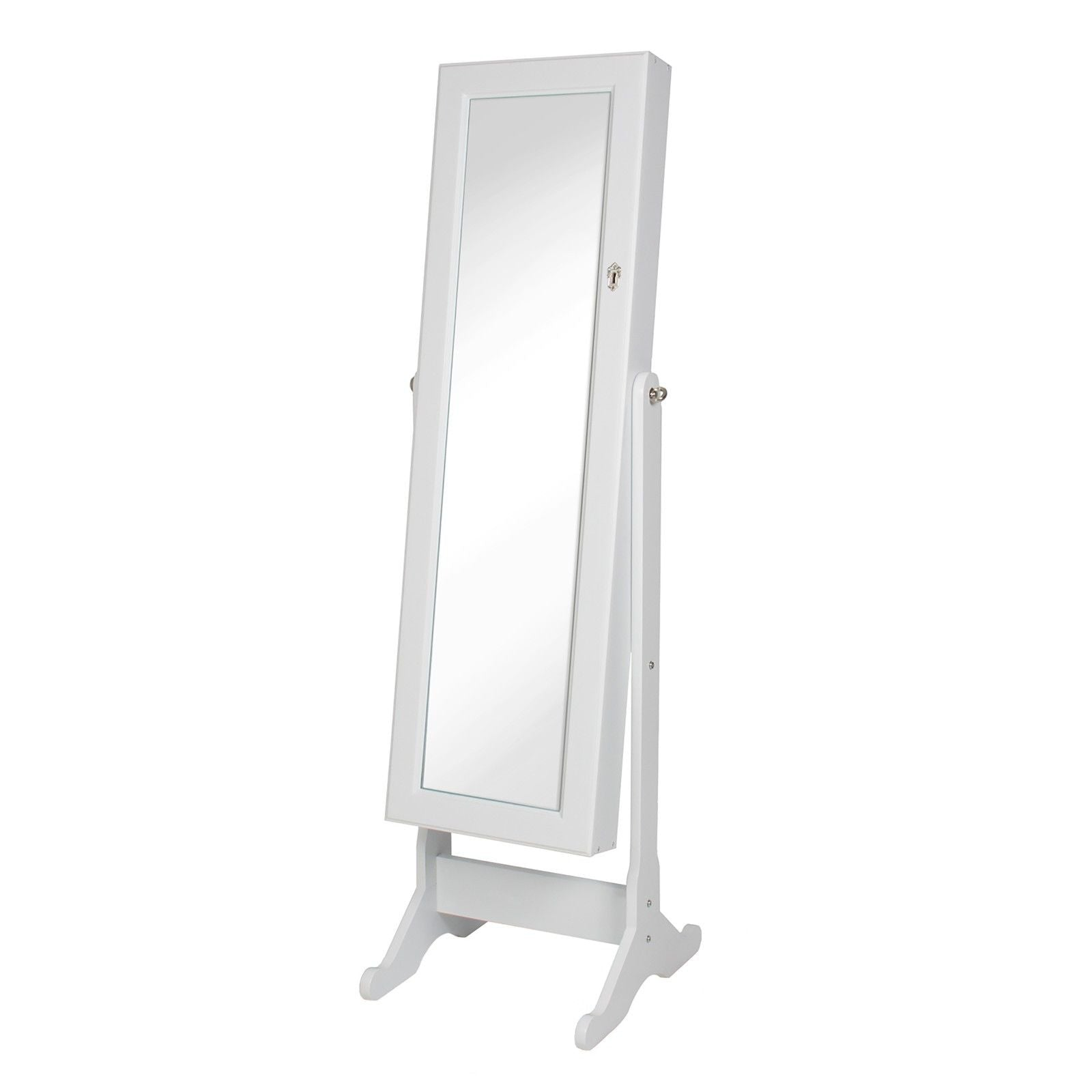 Lavender Modern Large Standing Floor Mirror with Jewelry Storage Cabinet 3 Color