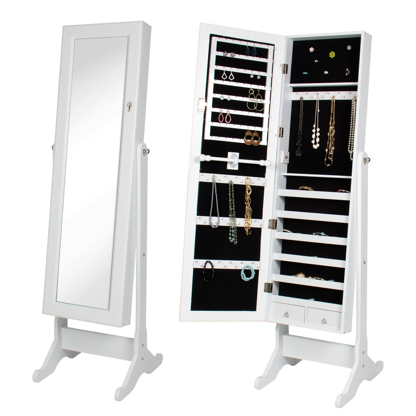 Black Modern Large Standing Floor Mirror with Jewelry Storage Cabinet 3 Color