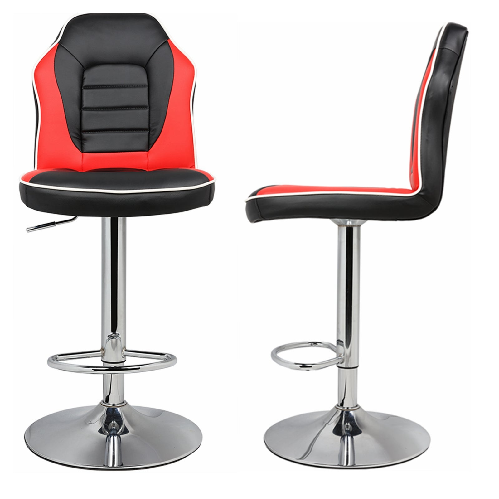 Amazing 2Pc Racing Seat Style Backed Bar Stools With Backs Counter Stools Kitchen Stools Black Red Gmtry Best Dining Table And Chair Ideas Images Gmtryco