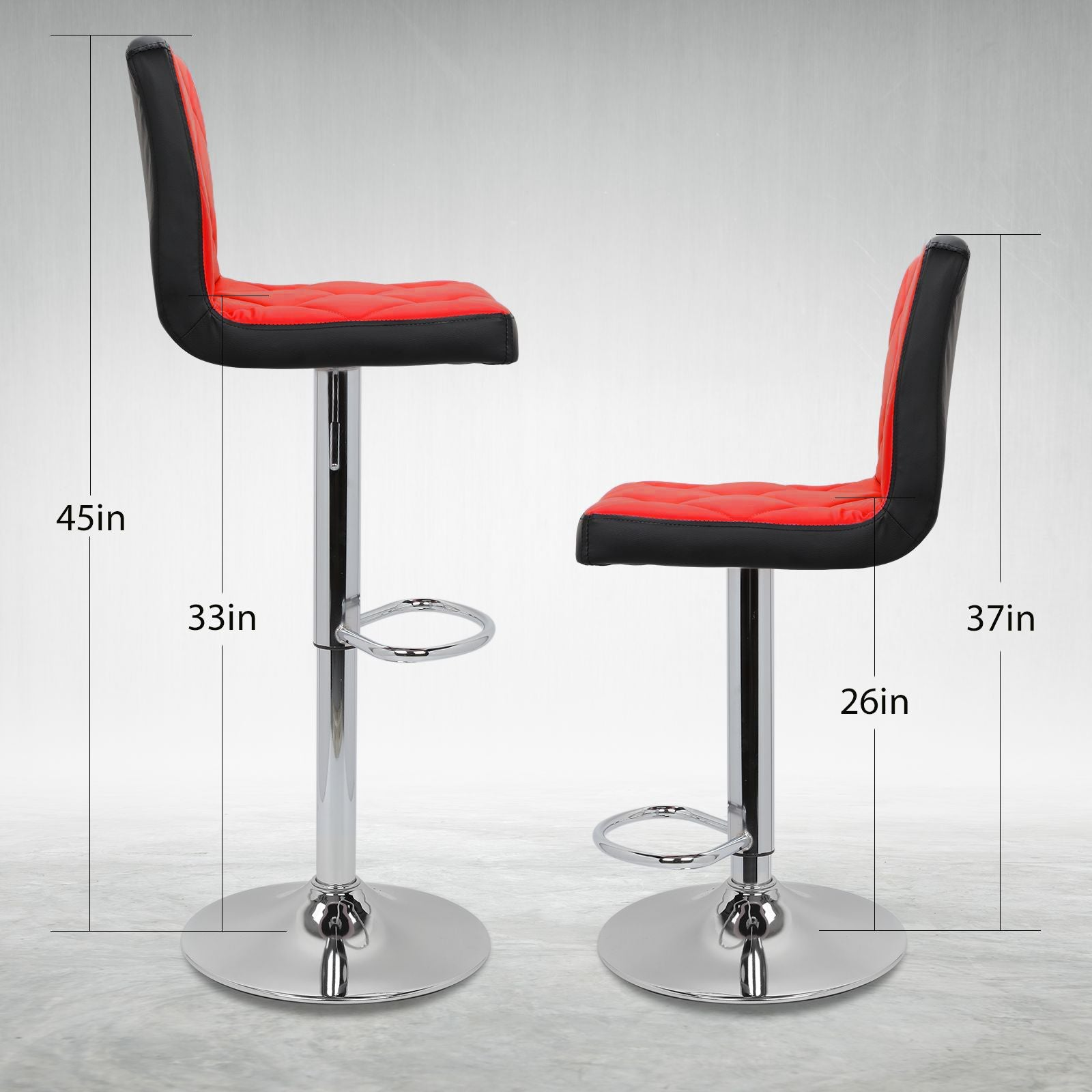 2pc Deluxe Mixed Color Leather Swivel Pub Bar Stools Counter Stools Kitchen Stools with Backs - Size