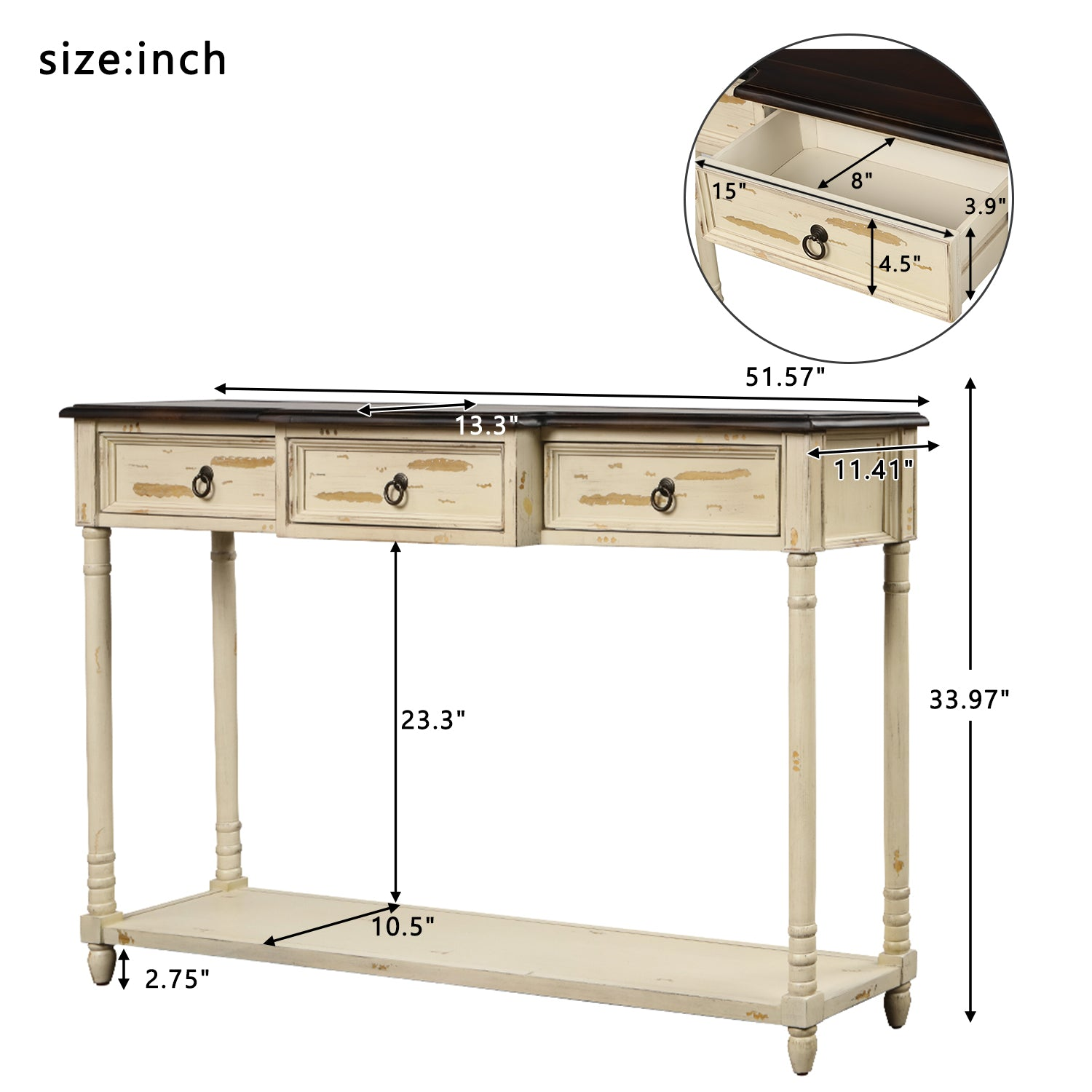 Gray Luxurious & Exquisite Design Console Table Sofa Table with Drawers for Entryway with Projecting Drawers and Long Shelf BH189574
