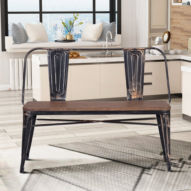 Rustic Style Distressed Dining Bench with Wooden Seat Panel and Metal Backrest & Legs