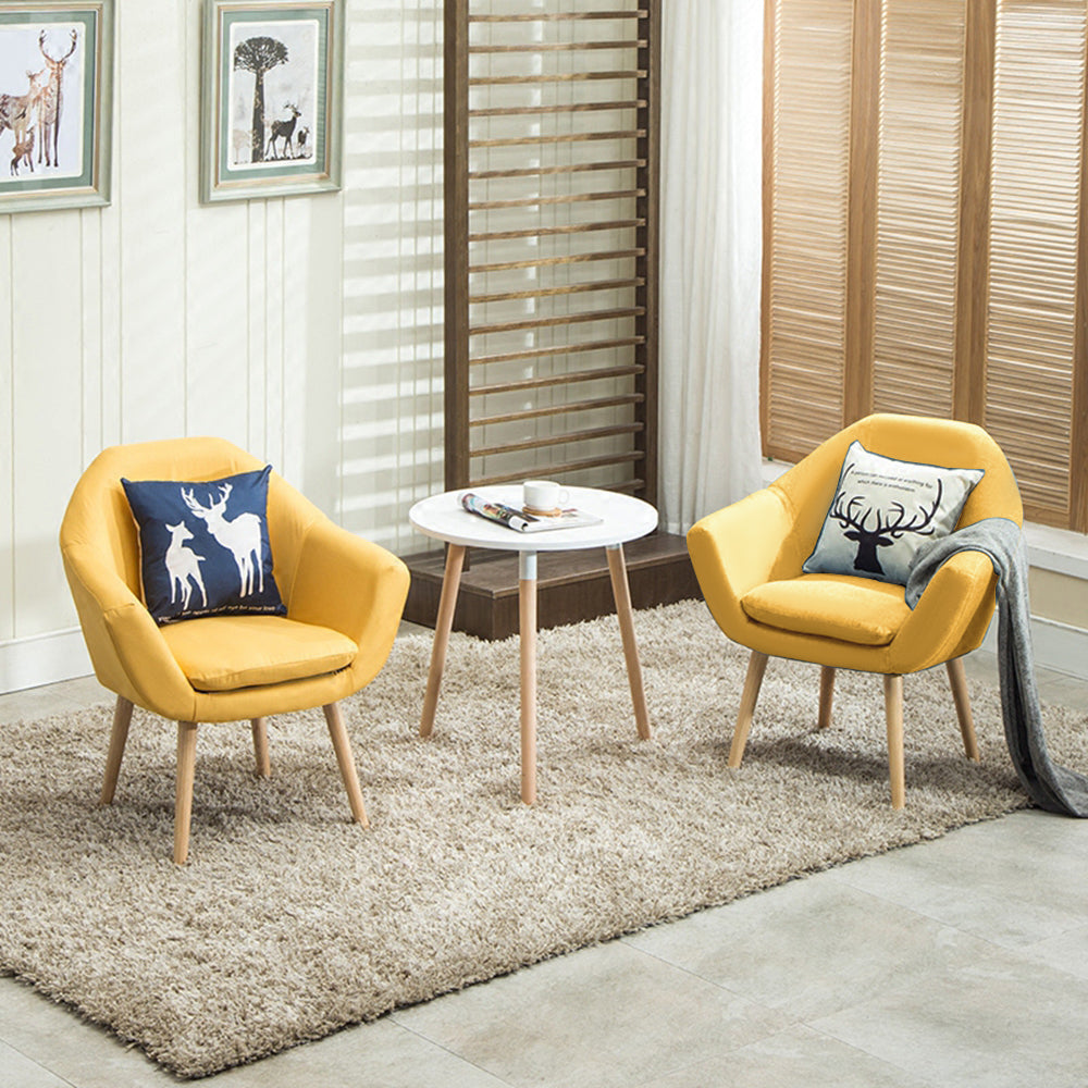 legant Upholstered Fabric Club Chair Accent Chair Set Of 2 Gold