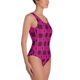 P&P One-Piece Swimsuit Pink Plaid