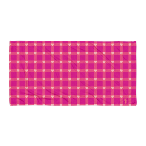 P&P Towel Hot Pink Plaid/Hearts