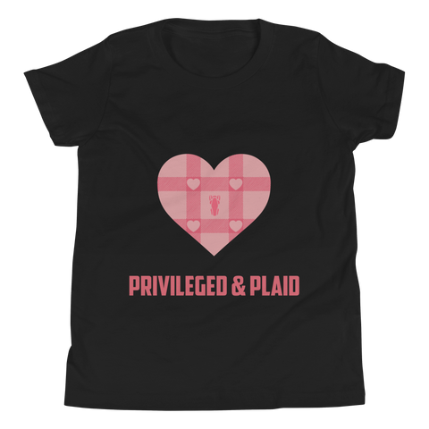 P&P Youth Short Sleeve T-Shirt Baby Pink Plaid Hearts