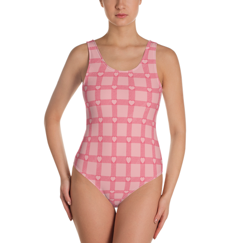 P&P One-Piece Swimsuit Baby Pink Hearts Plaid